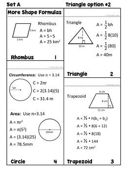 Area, Perimeter, Circumference Formula Flip Book And Reference Cards