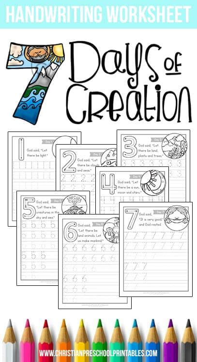 days  creation worksheets christian preschool printables