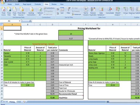 inventory cost  goods sold analysis template accounting