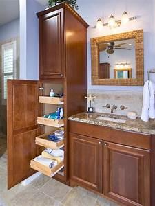 Coastal, Bathroom, With, Tall, Storage, Cabinet