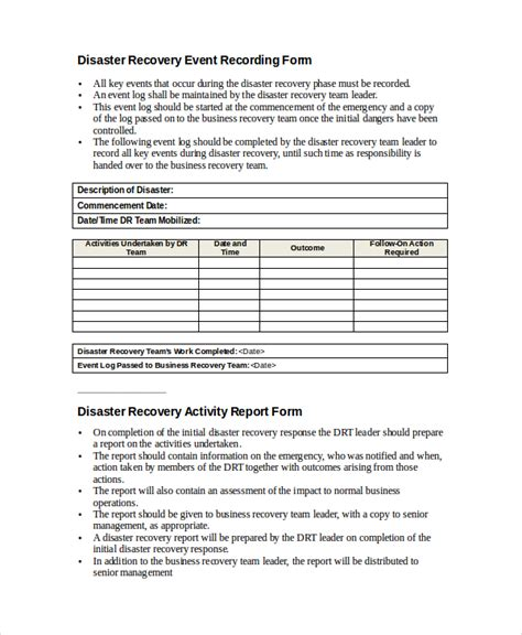 disaster recovery plan template 9 disaster recovery plan exles free premium templates