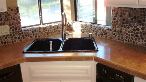 river rock backsplash kitchen kitchen counter top travertine with pebble 4848