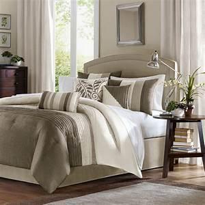 Beautiful, 7pc, Elegant, Beige, Taupe, Tan, Ivory, Pintuck, Soft, Textured, Comforter, Set