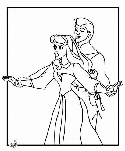 Princess Disney Aurora Coloring Prince Dancing Pages