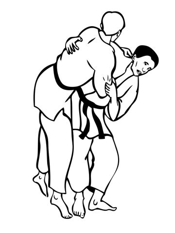 judo fight coloring page super coloring
