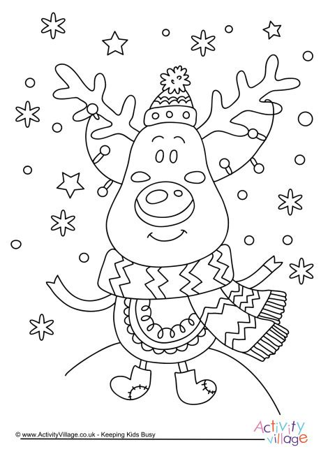 activity village christmas reindeer colouring page