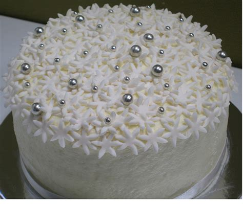 floral bride shower cake  silver balls cake decor