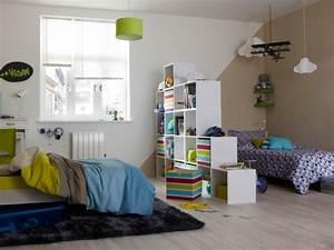 diviser une chambre en deux grace a une bibliotheque With une chambre pour deux enfants