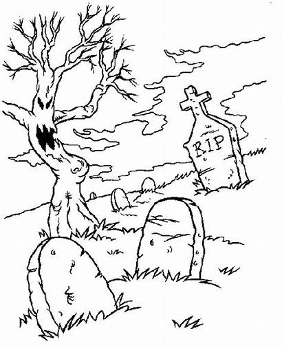 Graveyard Coloring Spooky Halloween Pages Cemetery Drawing