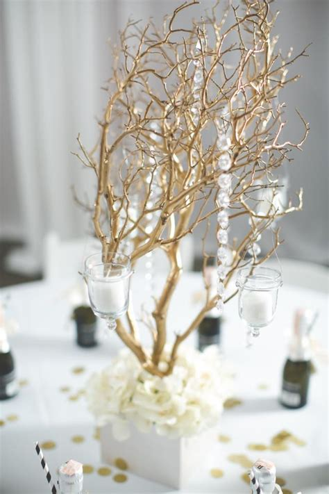 gold manzanita branch centerpieces tradesy weddings