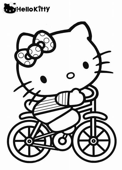 Kitty Hello Coloring Pages Riding Colouring Bicycle