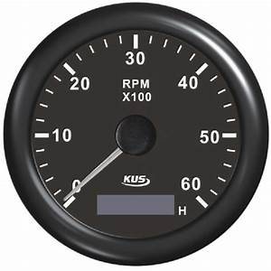 Tachometer With Hour Meter Black