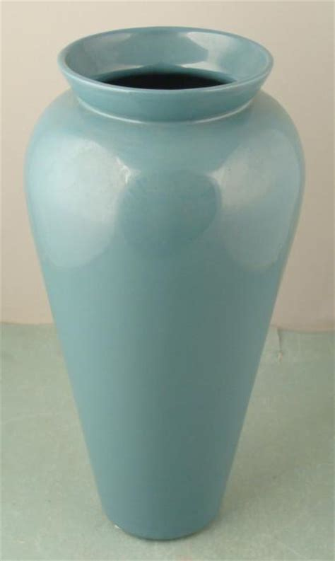 large haeger pottery teal blue vase  decor