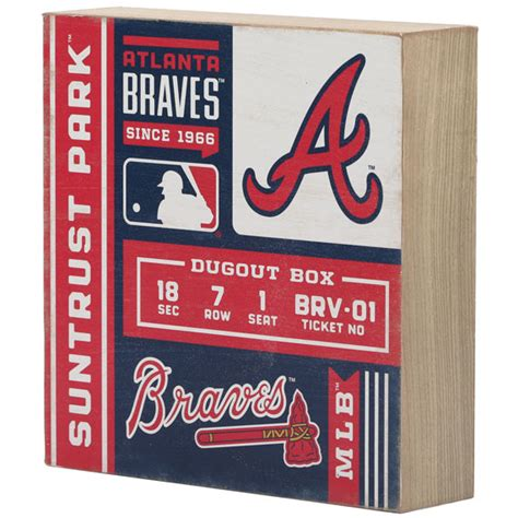 Snag an authentic braves sign to really put your team pride on display. Atlanta Braves SunTrust Park Ticket Wood Wall Décor   Open Road Brands