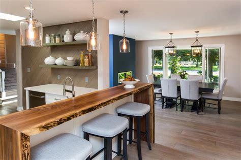 Kitchen With Walnut Bar Top and Engineered Hardwood Floors