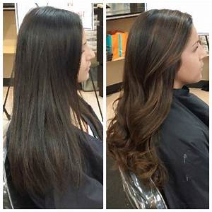 brown black hair balayage | Balayage straight, Dark brown ...