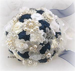 Brooch Bouquet Navy Blue Ivory Cream White Vintage
