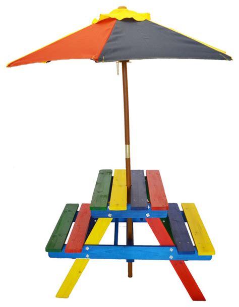 junior rainbow picnic table set with umbrella for