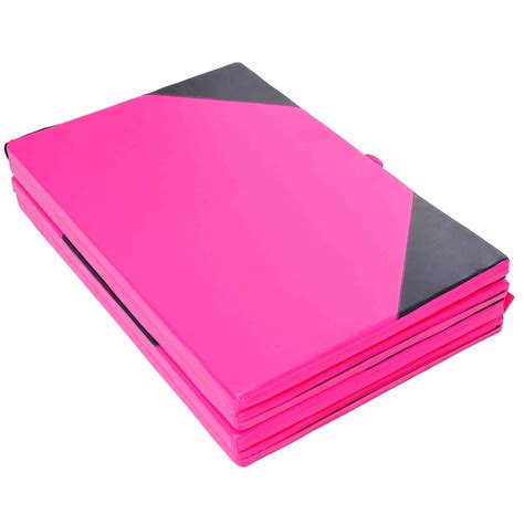 homcom folding yoga mat 5 cm thick pink black