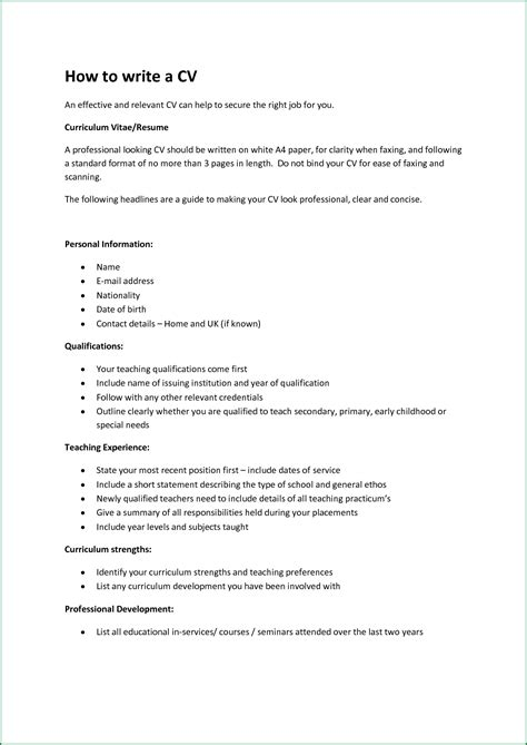 How To Write Your Cv Exles by Personal Statement In Your Cv