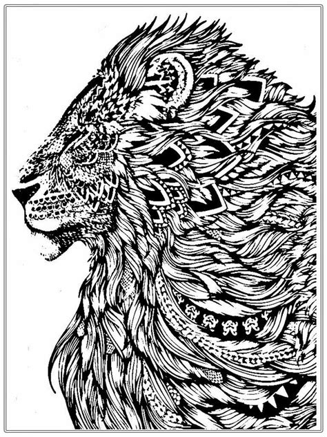 Realistic Lion Adult Coloring Pages Free | Lion coloring