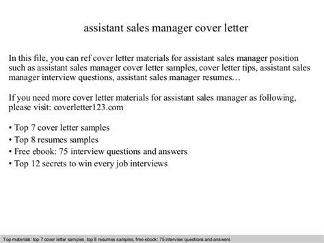 Cover Letter Sle For Assistant Manager by Assistant Sales Manager Cover Letter