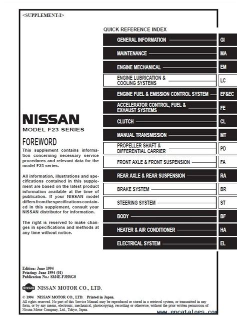 Nissan Cabstar Service Manual Pdf Download
