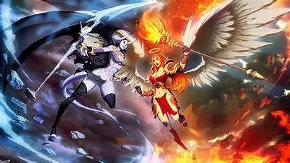 Demon Angel Wings Horns Magic Anime Scythe