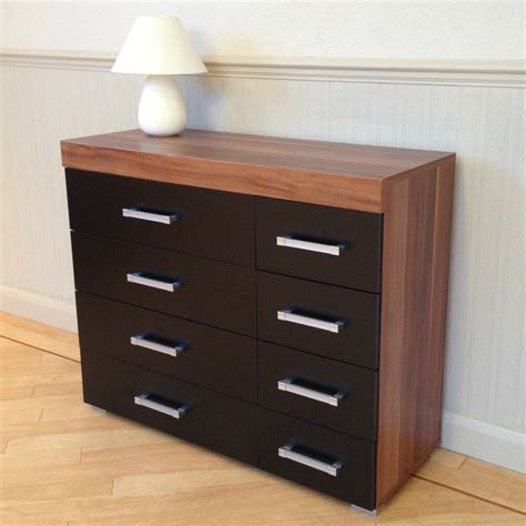 Black Wide Chest Of Drawers by Wide Chest Of 4 4 Drawers In Black Walnut Bedroom