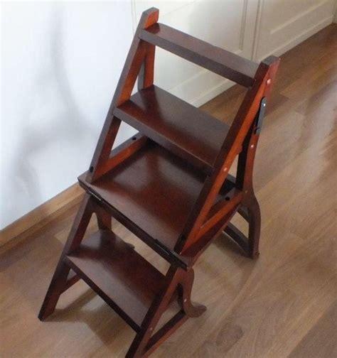 chaise escabeau en bois chaise escabeau de biblioth 232 que en bois d acajou angleterre 233 es 70 catawiki