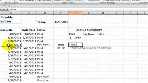 create  accounts payable status summary  excel