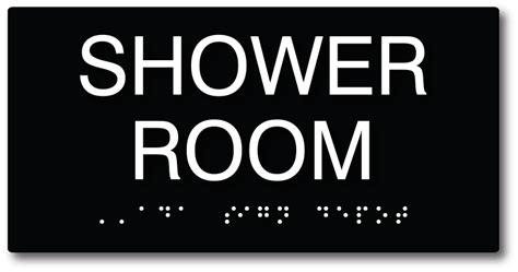shower room sign     compliant braille shower