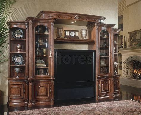 villagio big screen tv entertainment wall unit set  hazelnut aico wall units   entertainment center furniture entertainment wall units