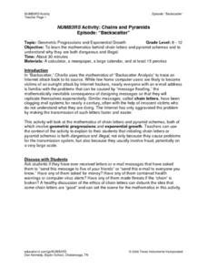 numb3rs activity chains and pyramids lesson plan for 6th