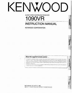 Kenwood Home Theater System 1090vr User Guide