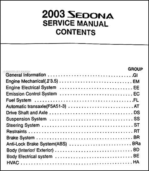 car repair manual download 2003 kia sedona lane departure warning 2003 kia sedona repair shop manual original