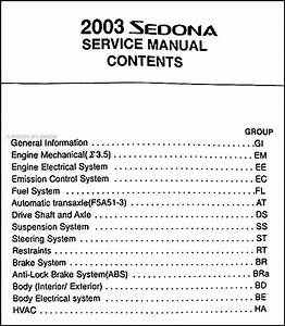 2003 Kia Sedona Engine Overhaul Manual