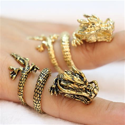 Fashion Chinese dragon rings, Gold plated dragon rings for