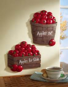 set of 2 bushel of apples kitchen wall decor
