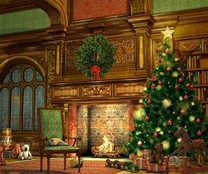 Holiday Fireplace Backdrop