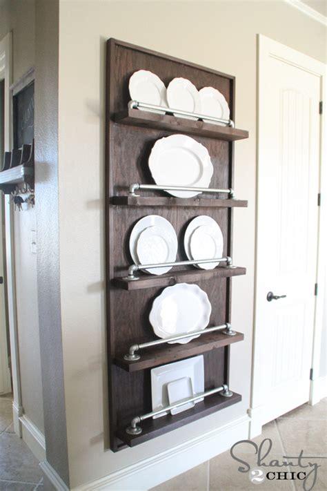 plate display rack diy industrial pipe plate rack shanty 2 chic