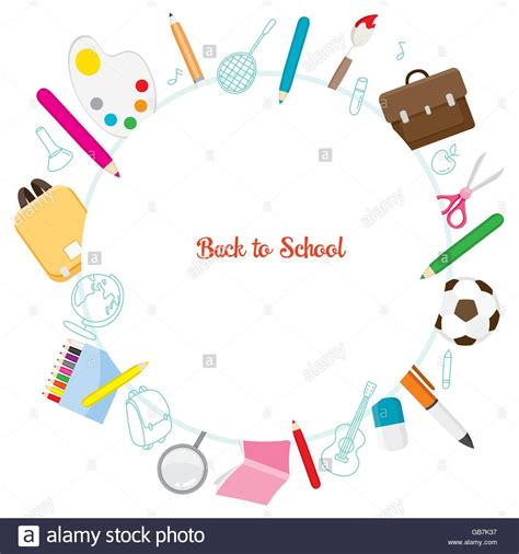school supplies icons on circle frame back to school educational stock vector