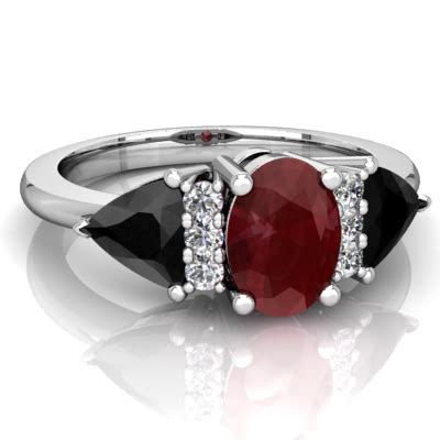 ruby  black onyx antique style  stone ring