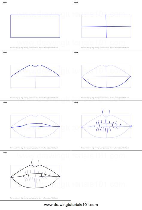 draw realistic lips  pencils printable step