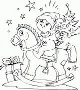 Horse Rocking Coloring Boy Christmas Colored sketch template