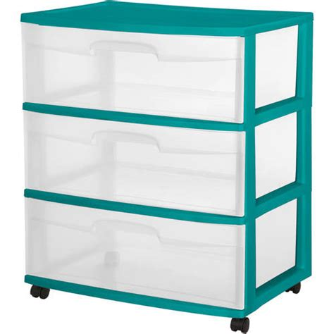 Plastic Dressers At Walmart by Sterilite 3 Drawer Wide Cart Teal Sachet Walmart