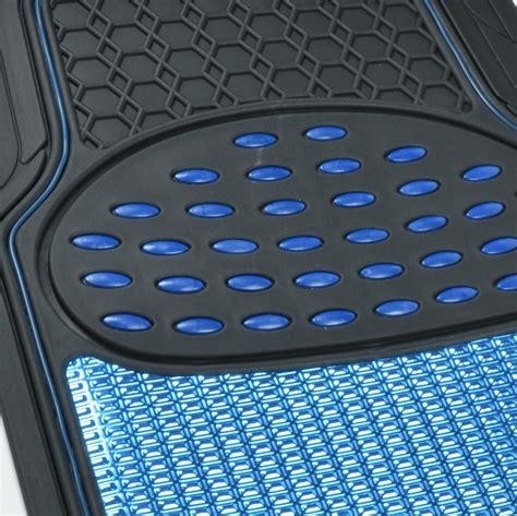 rubber car floor mats aluminum metallic trimmable rubber car floor mat blue