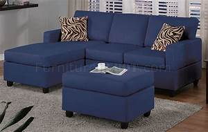 Navy microfiber plush casual small sectional sofa w ottoman for Navy blue microfiber sectional sofa