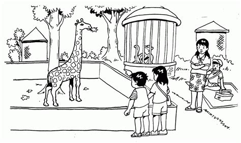 sketsa mewarnai gambar kebun binatang