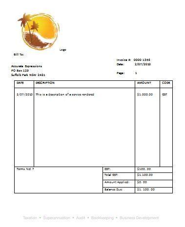 australian tax invoice  invoice template invoice